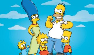 """In this undated publicity photo released by Fox, characters from the animated series, """"The Simpsons,"""" from left, Maggie, Marge, Lisa, Homer and Bart, are shown. (AP Photo/Fox)"""