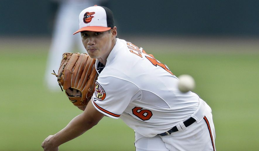 Baltimore Orioles starting pitcher Wei-Yin Chen, of Taiwan, throws during the first inning of a spring training exhibition baseball game against the New York Yankees in Sarasota, Fla., Tuesday, March 10, 2015. (AP Photo/Carlos Osorio)