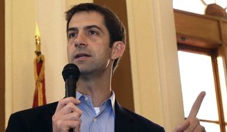 Then-Rep., now Sen. Tom Cotton, R-Ark, speaks in Jonesboro, Ark., in this Oct. 31, 2014, file photo. (AP Photo/Danny Johnston, File)