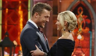 """This image released by ABC shows Chris Soules, left, and Whitney Bischoff during the finale of the reality dating competition series """"The Bachelor,"""" which aired on Monday, March 9, 2015. (AP Photo/ABC, Nicole Kohl)"""
