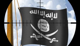 Illustration on the U.S. response to potential ISIS piracy by Alexander Hunter/The Washington Times