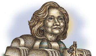 Illustration on Democrats' idolatrous attitude toward Hillary Clinton by Kevin Kreneck/Tribune Content Agency