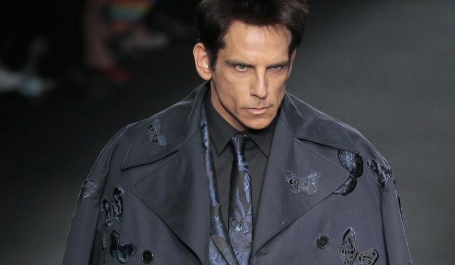 Actor Ben Stiller wears a creation for Valentino's ready-to-wear fall-winter 2015-2016 fashion collection presented during the Paris fashion week, in Paris, France, Tuesday, March 10, 2015.(AP Photo/Jacques Brinon)