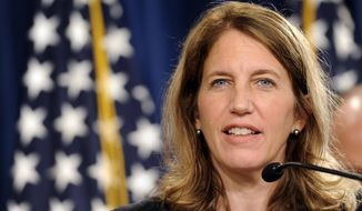Health and Human Services Secretary Sylvia Burwell speaks in Washington on July 28, 2014. (Associated Press) **FILE**