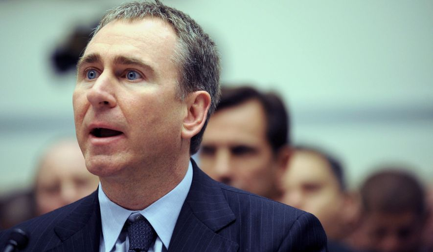 """Citadel Investment Group President and Chief Executive Officer Kenneth Griffin testifies on Capitol Hill in Washington, Thursday, Nov. 13, 2008, before the House Oversight and Government Reform hearing on """"Hedge Funds and the Financial Market"""". (AP Photo/Kevin Wolf)"""