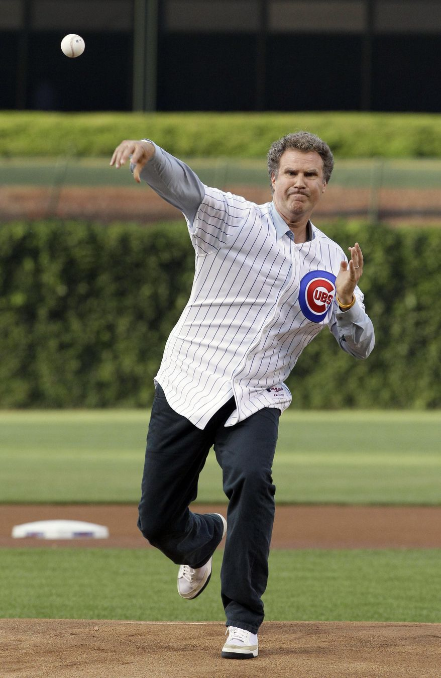 """FILE - In this July 18, 2012, file photo, comedian Will Ferrell throws out the ceremonial first pitch before a baseball game between the Miami Marlins and the Chicago Cubs in Chicago. Ferrell will appear in at least two Arizona spring training games on Thursday, March 12, 2015. The Chicago White Sox confirmed the star of """"Anchorman"""" and many other movies will appear in their game against the San Francisco Giants in Glendale and the San Diego Padres say he will play in their game against the Los Angeles Dodgers in Peoria. (AP Photo/Nam Y. Huh, File)"""