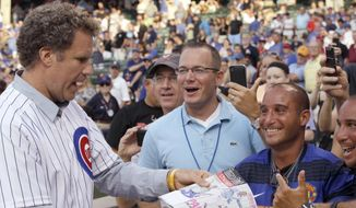 "FILE - In this July 18, 2012, file photo, comedian Will Ferrell, left, talks with fans after throwing out the ceremonial first pitch before a baseball game between the Miami Marlins and the Chicago Cubs in Chicago. Ferrell will appear in at least two Arizona spring training games on Thursday, March 12, 2015. The Chicago White Sox confirmed the star of ""Anchorman"" and many other movies will appear in their game against the San Francisco Giants in Glendale and the San Diego Padres say he will play in their game against the Los Angeles Dodgers in Peoria. (AP Photo/Nam Y. Huh, File)"