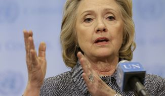 Former Secretary of State Hillary Rodham Clinton speaks to the reporters at United Nations headquarters on March 10, 2015. The Associated Press filed a lawsuit Wednesday against the State Department to force the release of email correspondence and government documents from Clinton's tenure as secretary of state. (Associated Press)