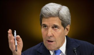Secretary of State John Kerry testifies on Capitol Hill in Washington, Wednesday, March 11, 2015, before the Senate Foreign Relation Committee. (AP Photo/Pablo Martinez Monsivais)