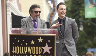 Jim Parsons, right, and Chuck Lorre, speak at the ceremony as Parsons is honored with a star at the Hollywood Walk of Fame on Wed., March 11, 2015, in Los Angeles. (Photo by Chris Pizzello/Invision/AP)