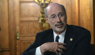 Gov. Tom Wolf speaks during an interview with The Associated Press in his Capitol offices, Wednesday, March 11, 2015, in Harrisburg, Pa. (AP Photo/Marc Levy) ** FILE **