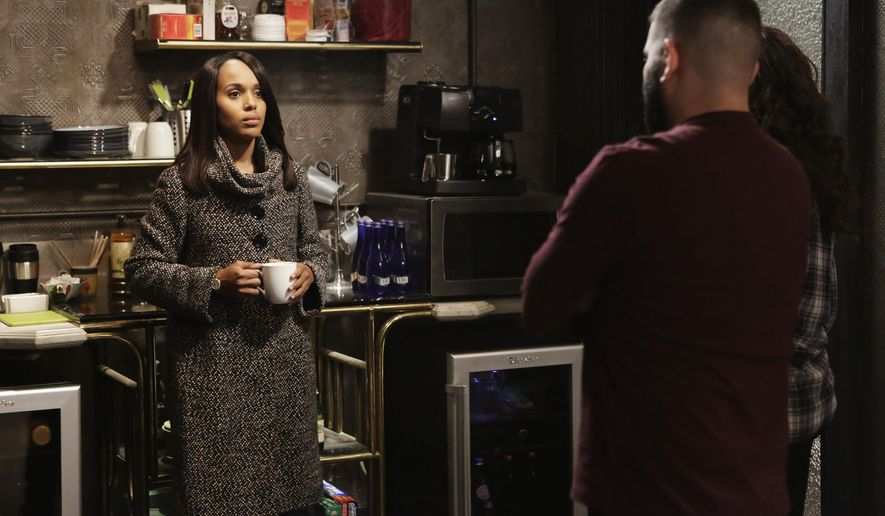 """In this image provided by ABC, Kerry Washington, as Olivia Pope, left, appears in a scene with Guillermo Diaz, as Huck, and Katie Lowes, as Quinn Perkins, in an episode of """"Scandal"""" airing Thursday, March 12, 2015 on the ABC Television Network. ABC and Yahoo on Thursday, March 12, 2015 announced an expansion of their working relationship beyond their news divisions to include content from ABC entertainment programming. (AP Photo/ABC, Nicole Wilder)"""