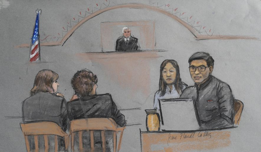 In this courtroom sketch, Dun Meng, far right, testifies with a translator at his side during the federal death penalty trial of Boston Marathon bombing suspect Dzhokhar Tsarnaev in Boston, Thursday, March 12, 2015. (AP Photo/Jane Flavell Collins)
