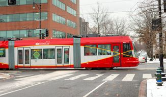 D.C. streetcars travel 2.4 miles along H Street and Benning Road Northeast but do not carry any passengers. (AP) **FILE**