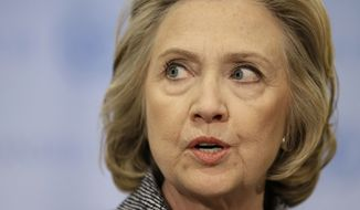 Late last year, or 18 months after she left office, Mrs. Clinton turned over 55,000 printed pages she said contained about 30,000 emails she believed were work-related that she sent during her time in office. (Associated Press)