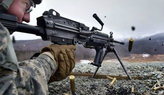 A soldier fires his Squad Automatic Weapon during training in Alaska. (Image: U.S. Army, Twitter) ** FILE **