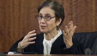 Superior Court Judge Susan Garsh speaks during a motion in the murder trial for former New England Patriots football player Aaron Hernandez, Thursday, March 12, 2015, in Fall River, Mass. Hernandez is charged with killing semiprofessional football player Odin Lloyd. (AP Photo/Steven Senne, Pool)