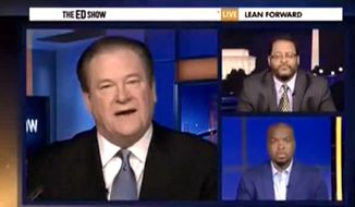 Ed Schultz suggested on his MSNBC show Wednesday night that police officers in Ferguson, Missouri, should be disarmed in order to effect real change following a Justice Department report that accused the department of racial bias. (MSNBC via The Daily Caller)