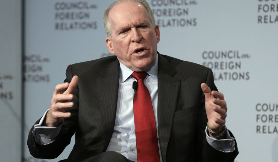 CIA Director John Brennan addresses a meeting at the Council on Foreign Relations, in New York, Friday, March 13, 2015. Brennan has ordered a sweeping reorganization of the CIA, an overhaul designed to make its leaders more accountable and close espionage gaps amid widespread concerns about the U.S. spy agency's limited insights into a series of major global developments. (AP Photo/Richard Drew)