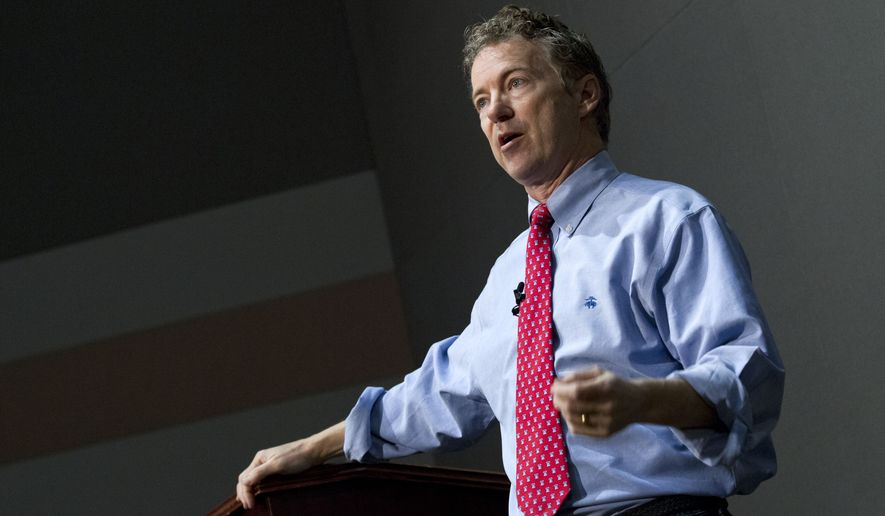 U.S. Sen. Rand Paul, R-Ky., speaks to students during a discussion on criminal justice reform at Bowie State University, in Bowie, Md., Friday, March 13, 2015. (AP Photo/Jose Luis Magana)