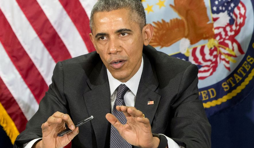 President Barack Obama speaks during a meeting on veterans issues at the Phoenix VA Medical Center Friday, March 13, 2015. (AP Photo/Jacquelyn Martin)