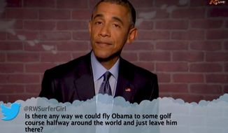 "President Obama did a segment of ""Mean Tweets"" on ""Jimmy Kimmel Live"" on March 12, 2015. (Image: ABC screenshot)"