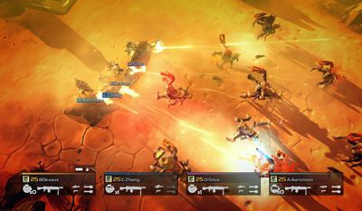 Elite soldiers fight off big bugs in the video game Helldivers. (Courtesy of Sony Computer Entertainment)