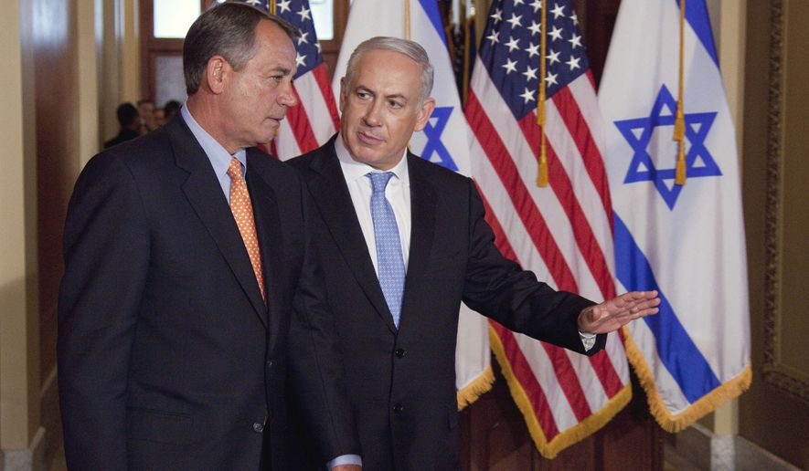 FILE - In this May 24, 2011 file photo, Israeli Prime Minister Benjamin Netanyahu walks with House Speaker  John Boehner of Ohio, to make a statement on Capitol Hill in Washington.  American politicians like to pick and choose when they'll abide by the storied notion that politics should stop at the water's edge, and when to give that idea a kick in the pants.  (AP Photo/Evan Vucci)