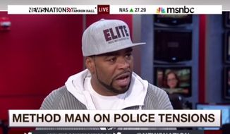 Rapper and Wu-Tang Clan member Method Man appeared on MSNBC Thursday to discuss the relationship between the black community and law enforcement, following the Ferguson shooting of two cops during a protest rally earlier that day. (MSNBC via Newsbusters)
