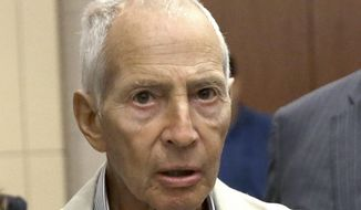 New York City real estate heir Robert Durst leaves a Houston courtroom in this Aug. 15, 2014, file photo. Durst was arrested in New Orleans on an extradition warrant to Los Angeles on Saturday, March 14, 2015. (AP Photo/Pat Sullivan, File)