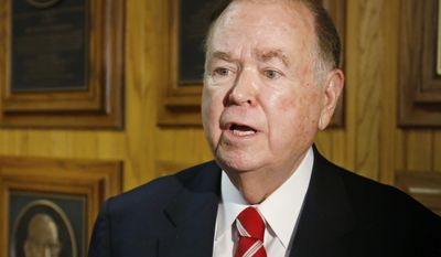 In this March 10, 2015, photo, University of Oklahoma President David Boren talks with the media before the start of a Board of Regents meeting in Oklahoma City. Many colleges are clamping down on campus fraternities after their reputations are sullied by race-tainted incidents. Even with a school's sometimes swift and hard action, episodes such as the racist chants by members of the Sigma Alpha Epsilon chapter at the University of Oklahoma still surface.  (AP Photo/Sue Ogrocki)