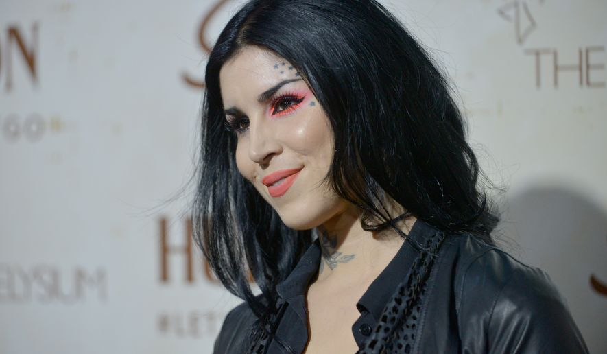 Kat Von D arrives at The Art of Elysium's 5th Annual Genesis at Siren Cube in Los Angeles on Sept. 20, 2013. (Richard Shotwell/Invision/Associated Press) **FILE**