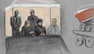 In this courtroom sketch, Dzhokhar Tsarnaev, center seated, is depicted between defense attorneys while the boat in which he was captured in sits on a trailer for observation during his federal death penalty trial, Monday, March 16, 2015, in Boston. Tsarnaev is charged with conspiring with his brother to place two bombs near the Boston Marathon finish line in April 2013, killing three and injuring more than 260 people. (AP Photo/Jane Flavell Collins) ** FILE **