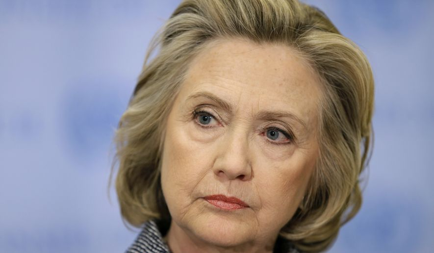 Hillary Rodham Clinton listens during a news conference at United Nations headquarters on March 10, 2015. (Associated Press) **FILE**