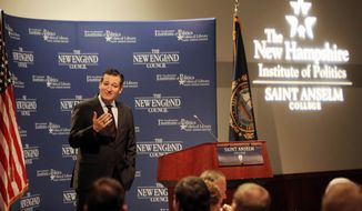 Sen. Ted Cruz, R-Texas speaks with area business leaders during a Politics and Eggs breakfast,  Monday, March 16, 2015, in Manchester, N.H. (AP Photo/Jim Cole)