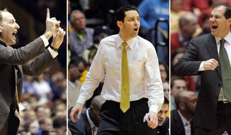 FILE - At left, in a Feb. 26, 2004, file photo, Valparaiso coach Homer Drew calls out a play during his teams game against Duke in Durham, N.C. At center, in a March 12, 2013, file photo, Valparaiso coach Bryce Drew reacts during a game against Wright State in Valparaiso, Ind. At right, in a Feb. 25, 2015, file photo, Baylor head coach Scott Drew complains during a game against Iowa State in Ames, Iowa. Bryce Drew was born to coach. His dad won 371 Division I games. His brother has won nearly 250. And now the youngest of three coaches is about to make his second NCAA Tournament appearance in three years after winning No. 94 in the Horizon League championship game. (AP Photo/File)