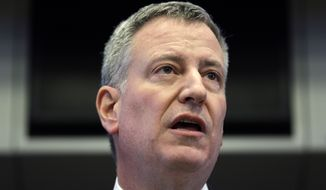 New York City Mayor Bill de Blasio speaks during a news conference in New York, Monday, March 16, 2015. (AP Photo/Seth Wenig) **FILE**