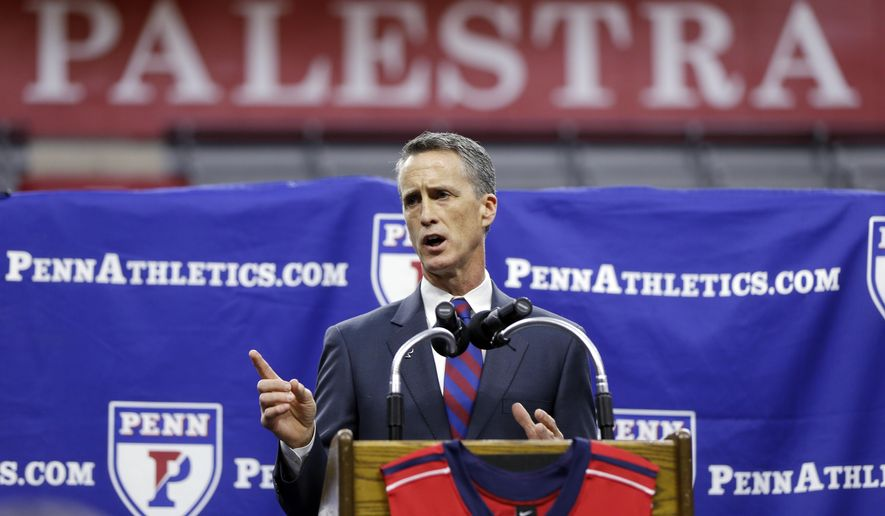 University of Pennsylvania's new basketball head coach Steve Donahue speaks during a news conference Tuesday, March 17, 2015, in Philadelphia. Penn has hired Donahue as its new coach, the former Quakers assistant returning after head coaching stops at Cornell and Boston College. (AP Photo/Matt Rourke)