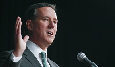 Former Republican presidential candidate and U.S. Sen. Rick Santorum speaks during the New Yorker's Family Research Foundation legislative day event on Tuesday, March 17, 2015, in Albany, N.Y. (AP Photo/Mike Groll) ** FILE **