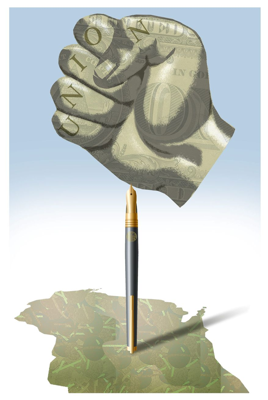 Illustration on Gov. Walker's actions against public-sector unions in Wisconsin by Alexander Hunter/The Washington Times