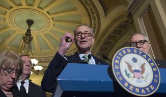 Sen. Charles Schumer, D-N.Y. speaks to reporters on Capitol Hill in Washington, Tuesday, March 17, 2015, following a policy luncheon. From left are, Sen. Patty Murray, D-Wash., Senate Minority Whip Richard Durbin of Ill. Schumer, and Senate Minority Leader Harry Reid of Nev. (AP Photo/Molly Riley)