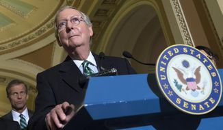 Senate Majority Leader Mitch McConnell of Ky. accompanied by Sen. John Thune, R-S.D., listens during a news conference on Capitol Hill in Washington, Tuesday, March 17, 2015, following a policy luncheon. (AP Photo/Molly Riley)