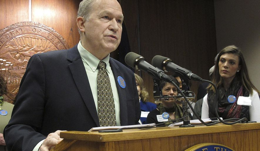 Gov. Bill Walker speaks during a news conference to announce plans to introduce legislation to reform and expand the Medicaid system in Alaska on Tuesday, March 17, 2015, in Juneau, Alaska. (AP Photo/Becky Bohrer)