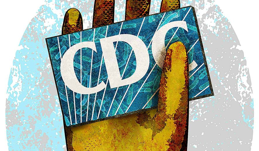 CDC rubber glove illustration by Greg Groesch/The Washington Times