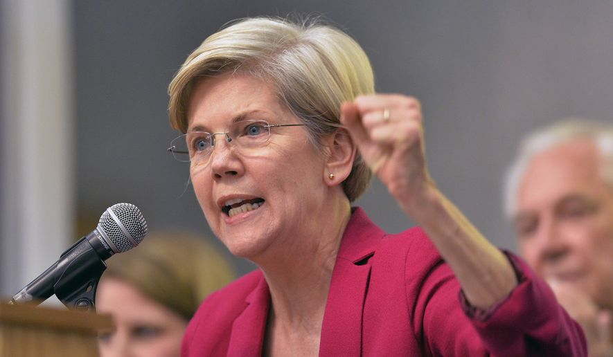 Sen. Elizabeth Warren, Massachusetts Democrat. (Associated Press) ** FILE **