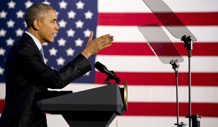 President Barack Obama speaks about the economy and the middle class, Wednesday, March 18, 2015, at the City Club of Cleveland in Cleveland. (AP Photo/Jacquelyn Martin)