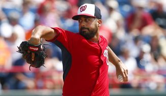 Washington Nationals starting pitcher Gio Gonzalez (47) works in the third inning of an exhibition spring training baseball game against the Detroit Tigers Thursday, March 19, 2015, in Viera, Fla.  (AP Photo/John Bazemore)