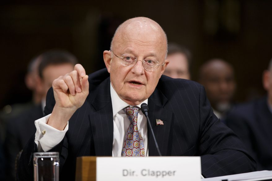 Director of National Intelligence James Clapper testifies on Capitol Hill in Washington, Thursday, Feb. 26, 2015, before the Senate Armed Services Committee to deliver the annual assessment by intelligence agencies of the top dangers facing the country. (AP Photo/J. Scott Applewhite) ** FILE **