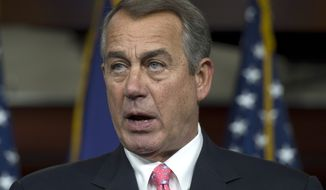 House Speaker John Boehner of Ohio speaks during a news conference on Capitol in Washington, Thursday, March 19, 2015. An uncharacteristic joint effort by Boehner and House Minority Leader Nancy Pelosi, to resolve a gnawing problem about how Medicare pays doctors underscores the political victories each sees in finally sweeping the issue off the deck _ if they can.  (AP Photo/Molly Riley)