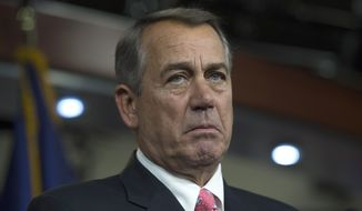 House Speaker John Boehner, Ohio Republican, pauses during a news conference on Capitol in Washington on March 19, 2015. (Associated Press) **FILE**